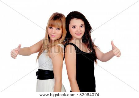 Adorable sisters saying Ok isolated on a white background