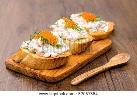 Crostini With Smoked Salmon And Trout Caviar