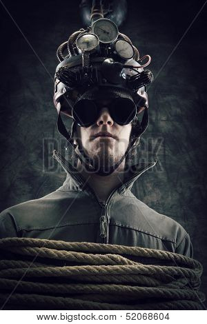 Man wearing a brain-control helmet human brain-related experiments poster