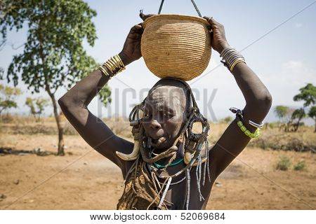 Mursi Woman With Bowl