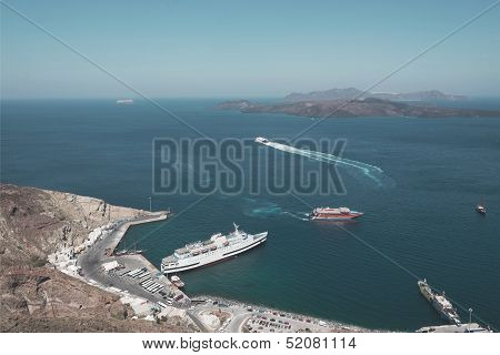 Port In Santorini's Caldera