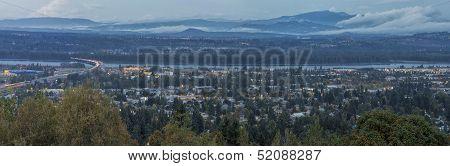 Panoramic View Of Blue Hour Oregon Washington States