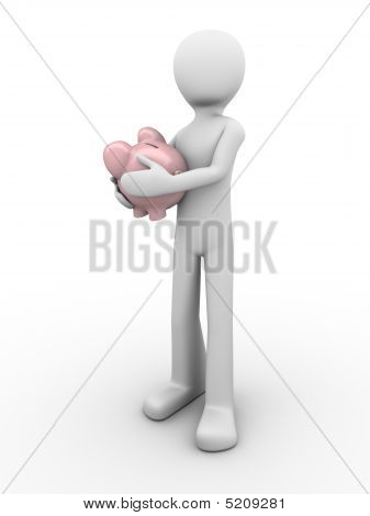 Man Protects Savings Holds Piggybank In Hands