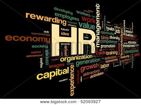 HR - human resources concept in tag cloud on black background