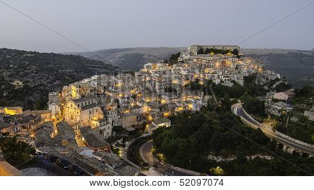 Ragusa Ibla (Sicily, Italy) in the evening poster