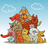 illustration of group of cats and dogs on blue sky poster