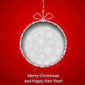 Abstract Xmas greeting card with Christmas ball cutted from red paper background. Vector eps10 illustration poster