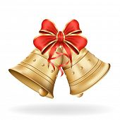 Christmas bells with red bow on white background. Xmas decorations. Vector eps10 illustration poster
