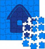 Not collected puzzles with a small house picture. Vector illustration poster