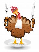 vector turkey clipart for thanksgiving day on white background poster