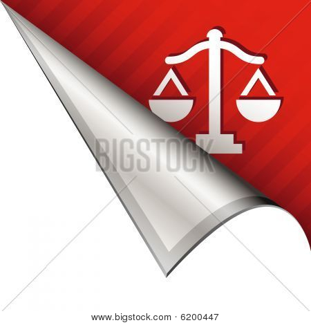 Scales of justice on peeling corner tab