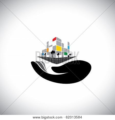 Vector Icon - Concept Of Buying House, Home, Property