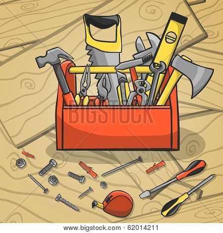 Carpenter toolbox with screwdriver hammer handsaw wrench and scattered instruments on a wooden background vector illustration poster