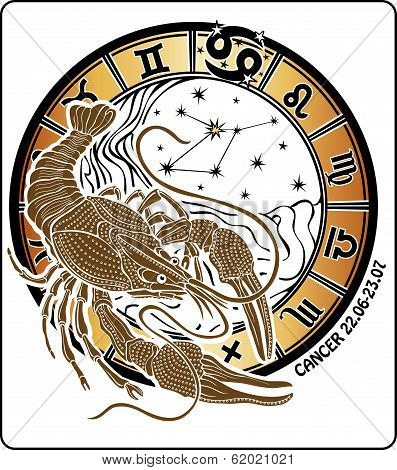 Cancer And The Zodiac Sign.horoscope Circle.vector Illustration