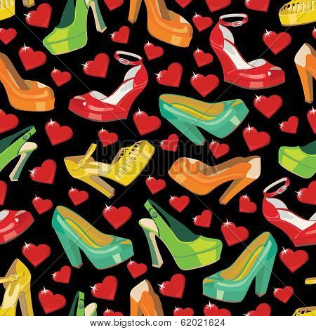 Colorful Fashion Women's Shoes And Hearts In Seamless Pattern