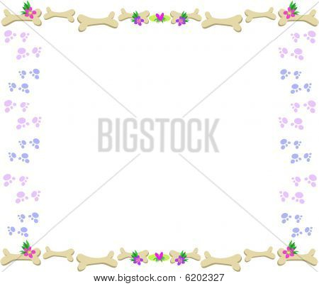 Frame of Bones, Paw Prints, Flowers and Hearts