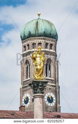 The Mariensaule Column In Munich, Germany.