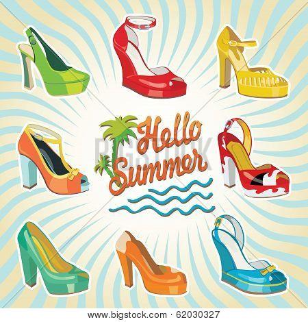 Colorful Fashion Women's High Heel Shoes.hello Summer