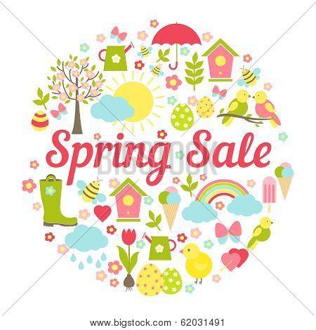 Decorative circular Spring Sale Sign