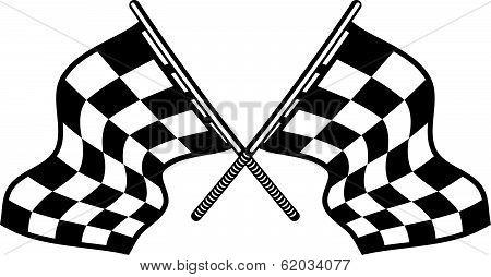 Crossed motor sport flags