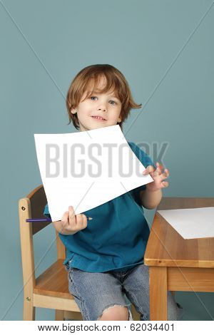 Preschool Learning: Child Showing Blank Page