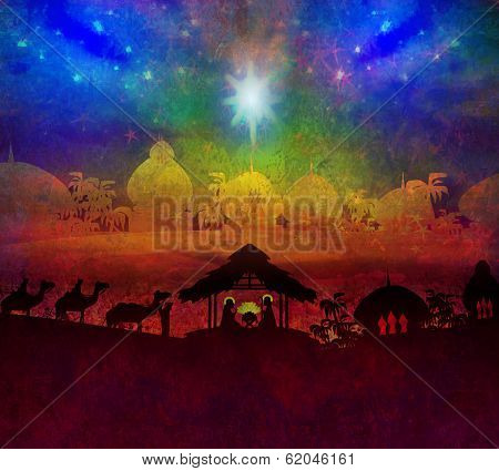Biblical Scene - Birth Of Jesus In Bethlehem.