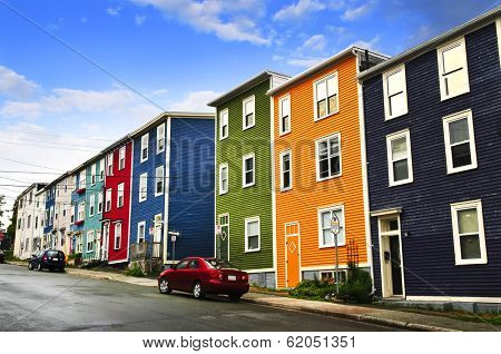 Street with colorful houses in St. John's, Newfoundland, Canada