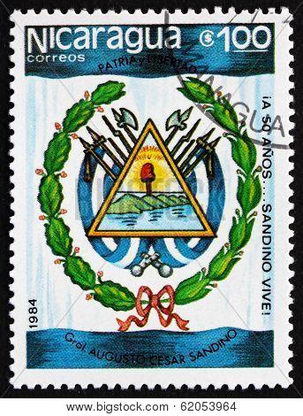 Postage Stamp Nicaragua 1984 Augusto Cesar Sandino, Arms
