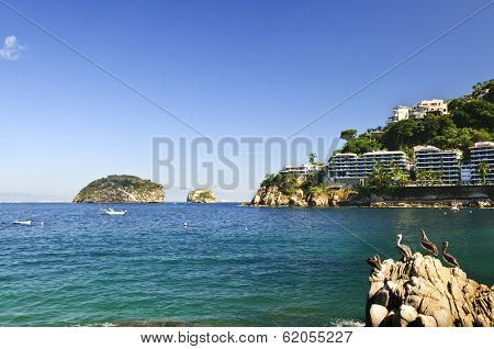 View on Pacific coast of Mexico resort town of Mismaloya near Puerto Vallarta