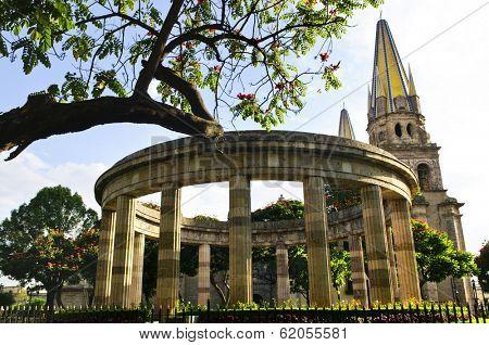 Rotonda de los Jalisciences Ilustres and Cathedral in historic center in Guadalajara, Jalisco, Mexico
