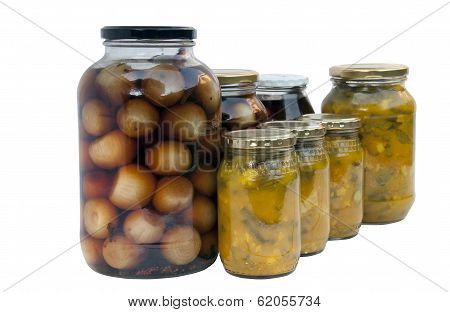 Assorted Jars Of Homemade Pickled Onions And Piccalilli