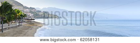 Panoramic image of beach and ocean in Puerto Vallarta, Mexico
