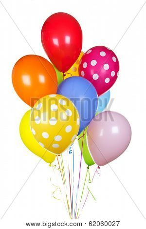 Colorful helium balloons isolated on white background
