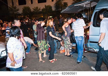 Police Tries To Calm Down Demonstrants - Vendors Of Patpong Night Market