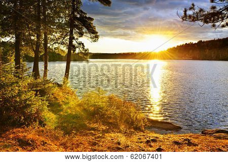 Sunset over Lake of Two Rivers in Algonquin Park, Ontario, Canada
