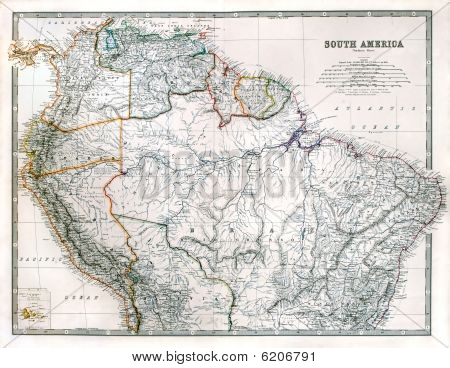 Старая карта северной части Южной Америки
