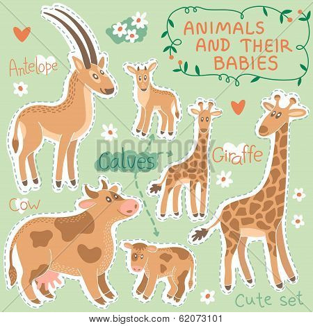 Baby and Mommy Animal Set on paper tags - for design and scrapbook. Vector illustration. poster
