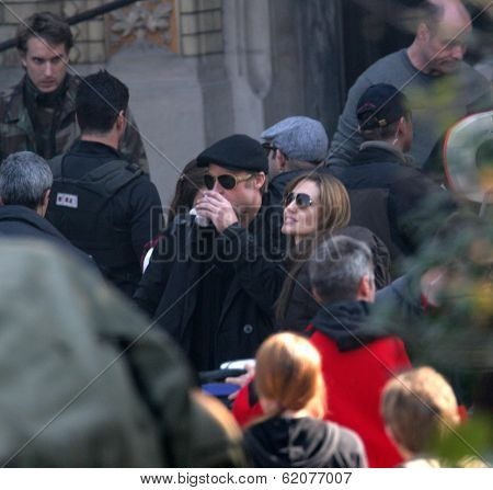 BUDAPEST - OCTOBER 13: Angelina Jolie and Brad Pitt  on the set of the Bosnian war drama she is currently directing in Budapest, Hungary, on Wednesday, October 13, 2010. Photographer: Northfoto