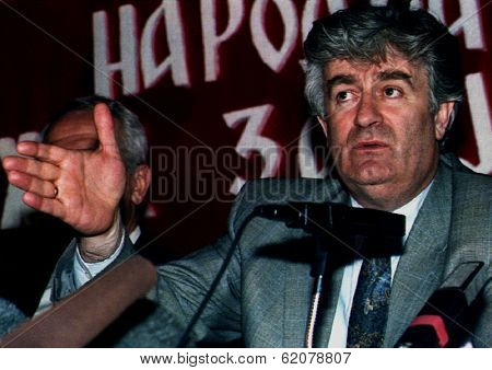 SARAJEVO, BOSNIA - MAY 6: Bosnian Serb leader Radovan Karadzic gestures during a news conference  after the Bosnian Serb parliament rejected the UN-backed peace plan for Bosnia near Sarajevo, Bosnia,  on Monday, May 6, 1993.