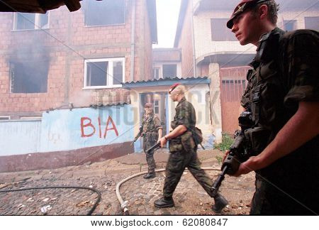 PRISTINA, KOSOVO, 01 JULY 1999 ---- British army paratroopers patrol Pristina, the capital of Kosovo, days after Yugoslav army troops were forced from the province by NATO airstrikes.