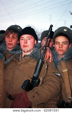 GUDERMES, CHECHNYA - JANUARY 15: Young Russian ministry of interior conscripts line up before beginning their patrols of Chechnya's second largest city, Gudermes in Gudermes, Chechnya, on Sunday, January 15, 2000.