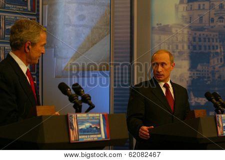 BRATISLAVA, SLOVAKIA - FEBRUARY 24: United States President George W. Bush and Russian president Vladimir Putin speak to the press after their summit in the Slovak capital, Bratislava on February 24, 2005 in Bratislava, Slovakia