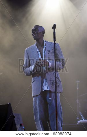 BUDAPEST, HUNGARY - AUGUST 10: Faithless perform at the annual Sziget music festival on August 10, 2004 in Budapest, Hungary. Seen here is lead singer Maxi Jazz.
