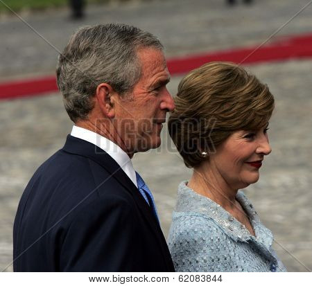 BUDAPEST, HUNGARY - JUNE 22: United States President George W. Bush with first lady Laura Bush in Budapest, Hungary, on Thursday, June 22, 2006.