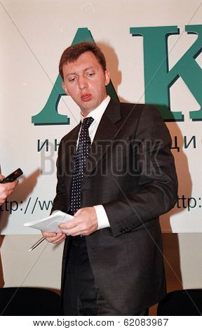 MOSCOW, RUSSIA - NOV 24: Russian oligarch Oleg Deripaska attends a press conference after a meeting of Russian business leaders in Moscow on Thursday, November 24, 2005.
