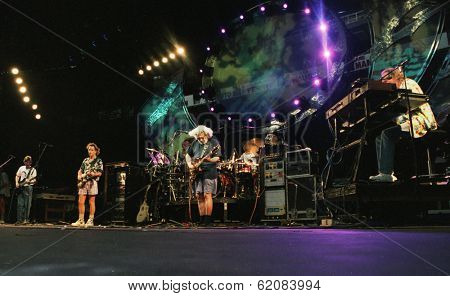 EAST RUTHERFORD, NEW JERSEY - AUGUST 3: The Grateful Dead in concert in East Rutherford, New Jersey, on Sunday, August 3, 1994.  From left is Phil Lesh, Bob Wier, Jerry Garcia, Micky Hart, and Vince Welnick.