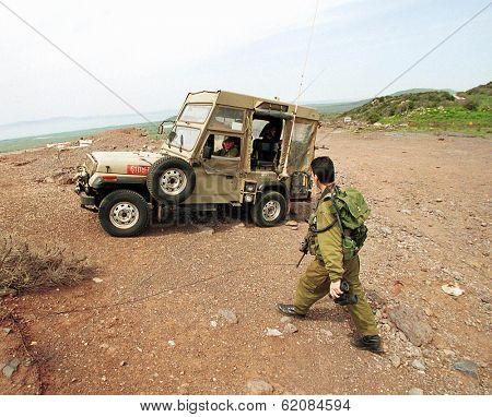 HAR VARDA, ISRAEL - MARCH 30:  Israeli Defense Force (IDF) soldiers patrol the Israeli Syrian border along the northern Golan Heights on March 30, 2000 in Har Varada, Israel.