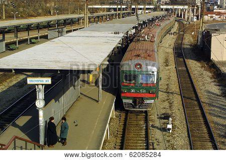VLADIVOSTOK - NOVEMBER 24, 2002:  A train running on  the Trans-Siberian railroad arrives at the main station in Vladivostok on Russia's far east coast.