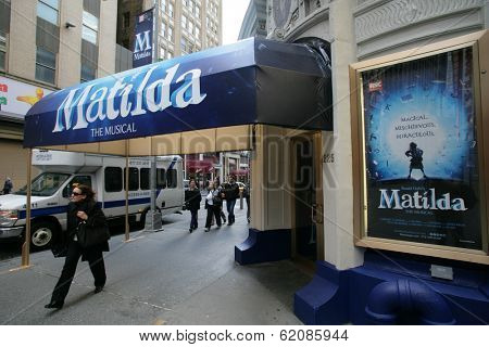 NEW YORK CITY - APRIL 19: People walk past the Shubert Theater featuring the Broadway play Matilda in New York City, on Friday, April 19, 2013.