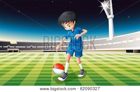 Illustration of a boy at the field using the ball with the flag of Singapore